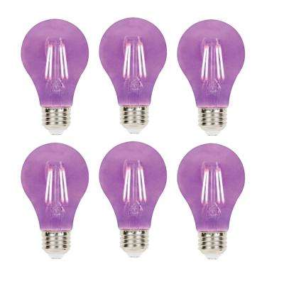 40-Watt Equivalent A19 Dimmable Purple Filament LED Light Bulb (6-Pack)
