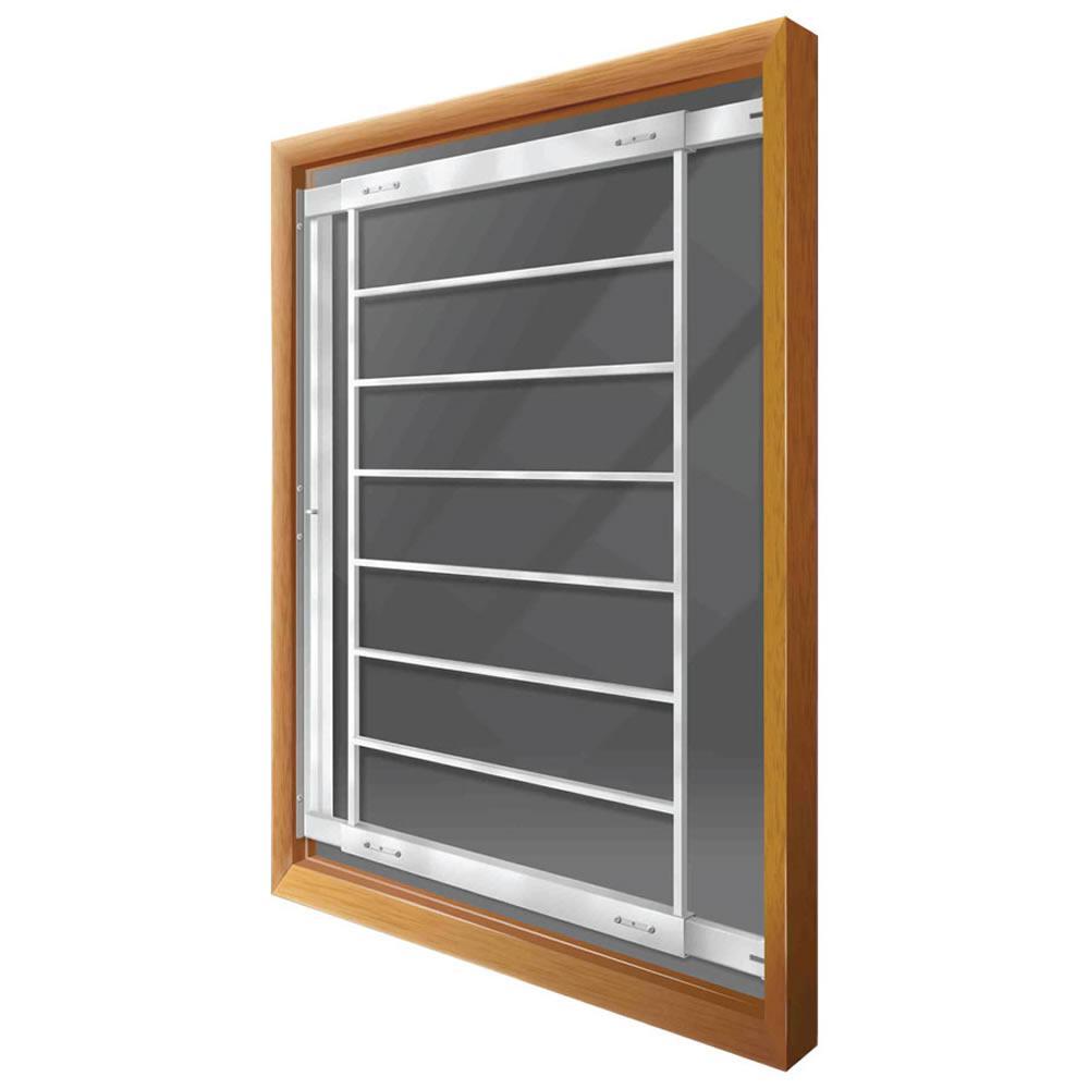 Swing-away 21 in. to 28 in. Adjustable Width 8-Bar Window Guard, White