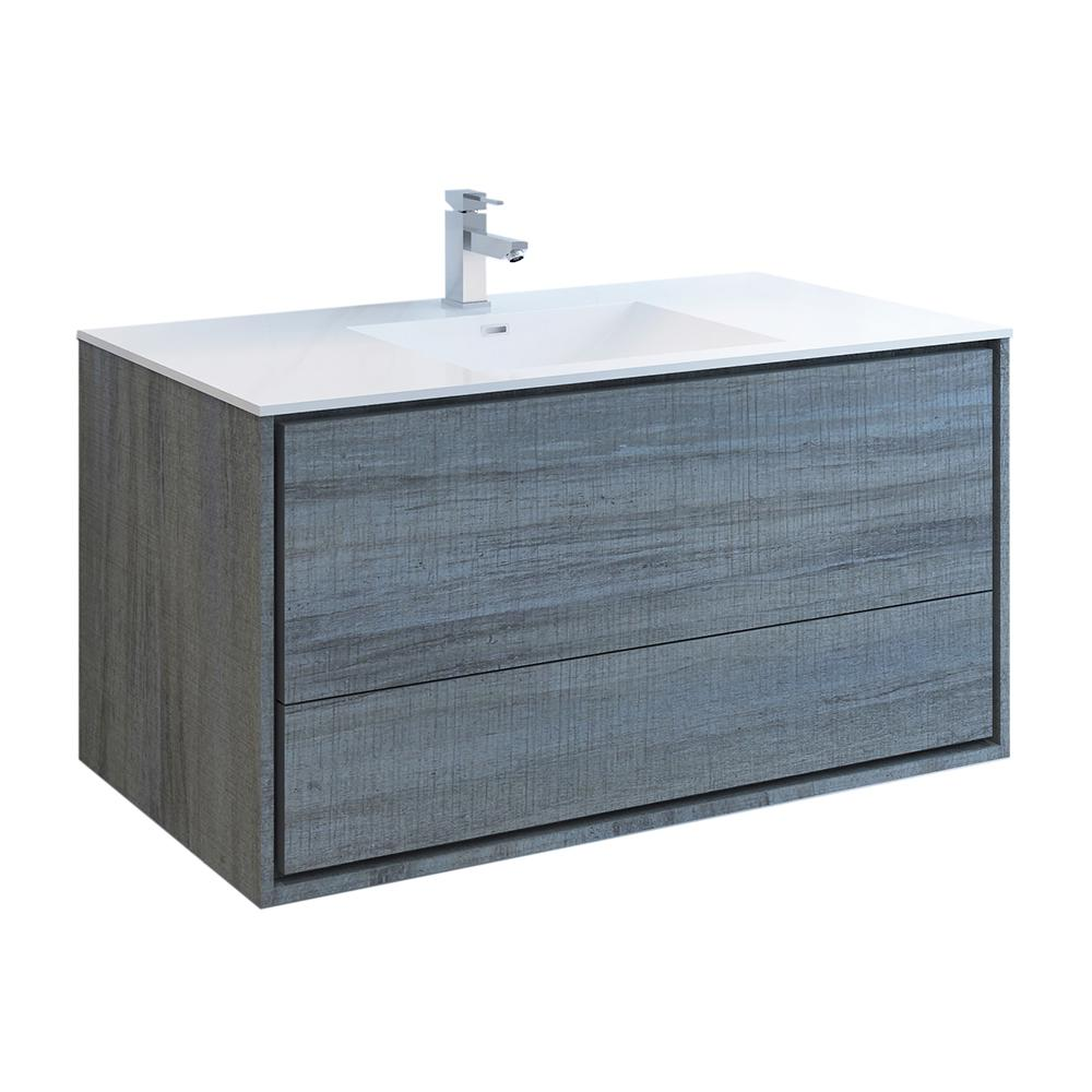 Fresca Catania 48 in. Modern Wall Hung Bath Vanity in Ocean Gray with Vanity Top in White with White Basin