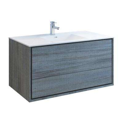 Catania 48 in. Modern Wall Hung Bath Vanity in Ocean Gray with Vanity Top in White with White Basin