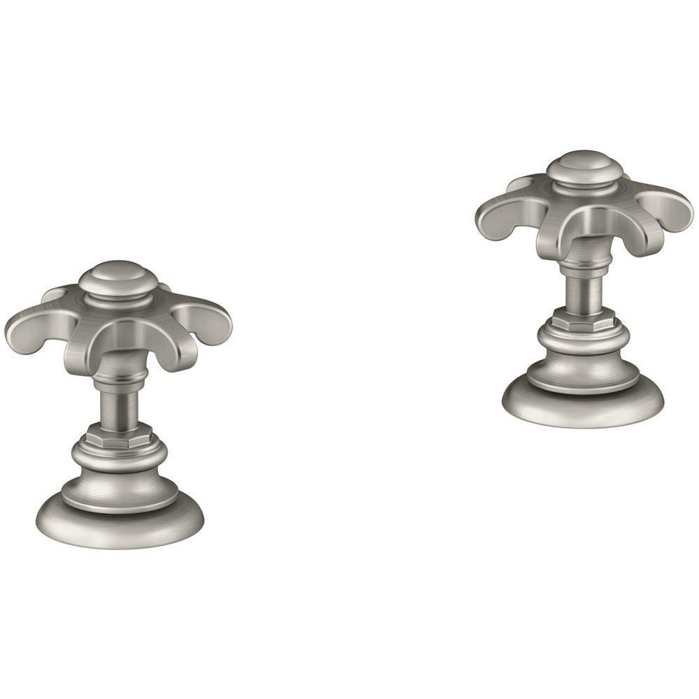 Artifacts Bathroom Sink Prong Handles in Vibrant Brushed Nickel