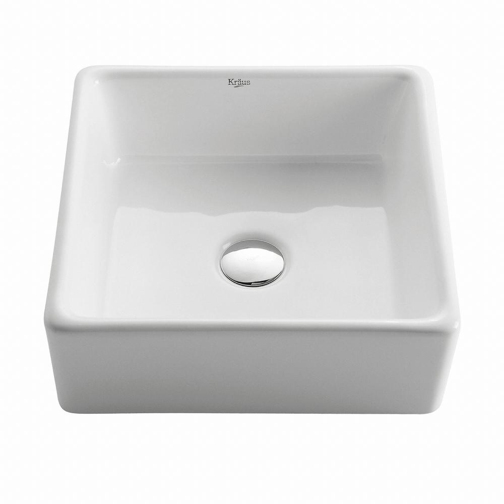 Superbe KRAUS Square Ceramic Vessel Bathroom Sink In White