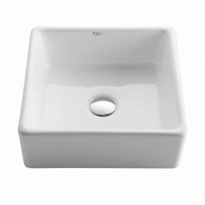 Square Ceramic Vessel Bathroom Sink in White
