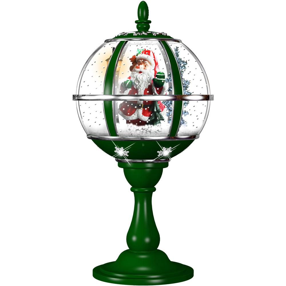 23 in. Musical Tabletop Globe in Green Featuring Santa Scene and