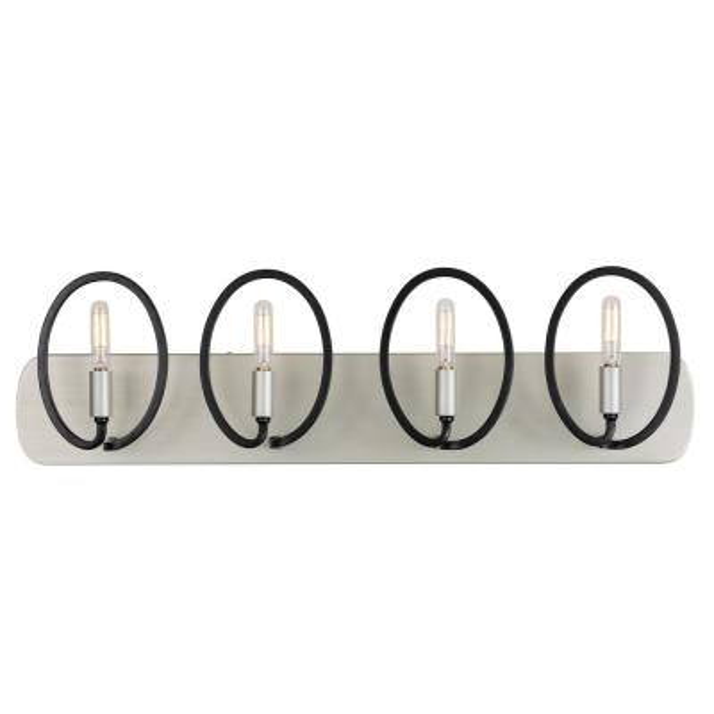 Eliptico 4-Light Silverado and Black Bath Light