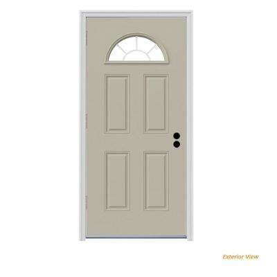 34 in. x 80 in. Fan Lite Desert Sand Painted Steel Prehung Right-Hand Outswing Front Door w/Brickmould
