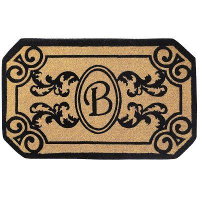 Perfect Home Kingston Brown 39 in. x 24 in. Monogram B Door Mat-DISCONTINUED