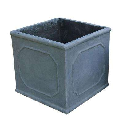 12 in. Grey Frame Cube Fiber-Clay Planter