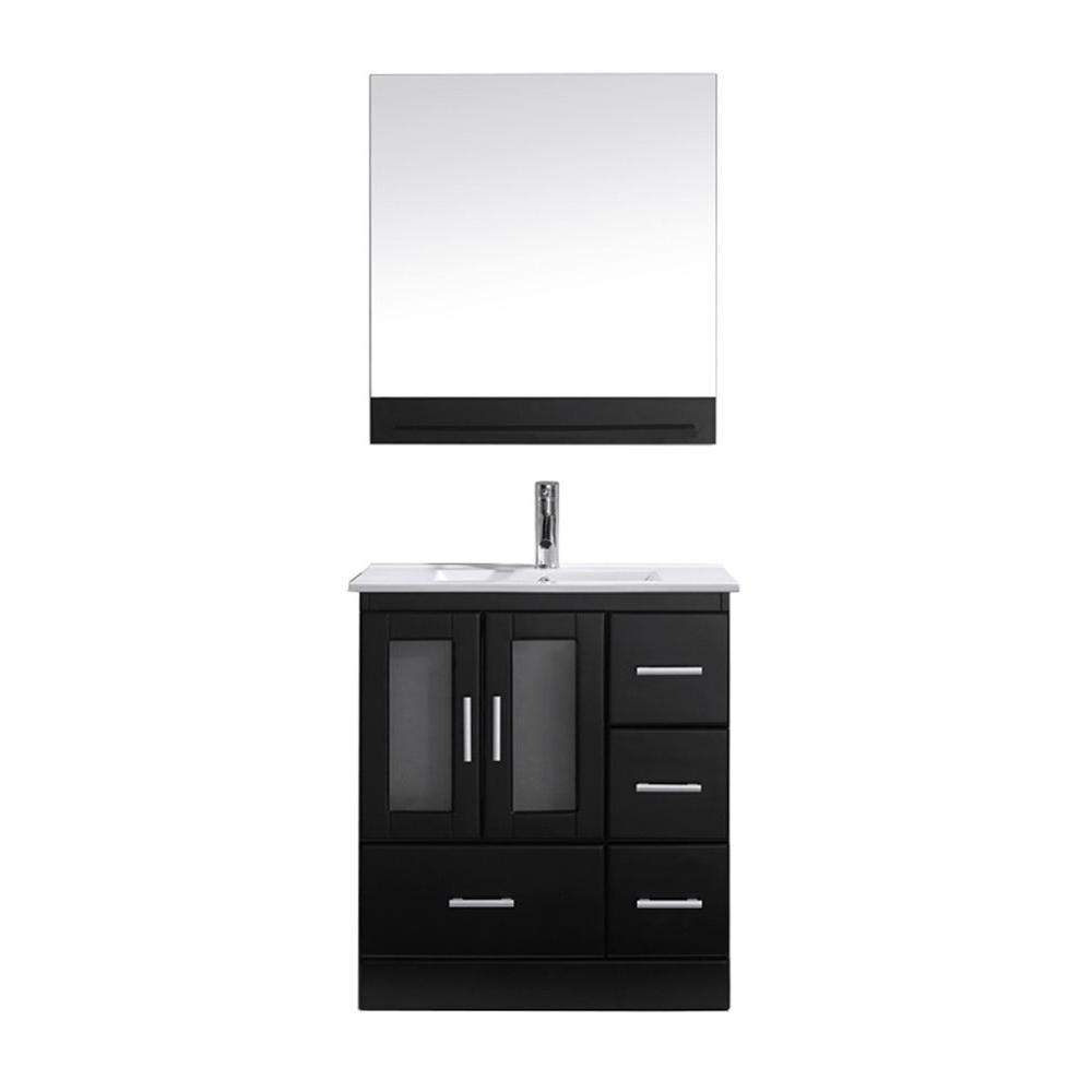Virtu USA Zola 30 in. W Bath Vanity in Espresso with Ceramic Vanity Top in White with Square Basin and Mirror and Faucet