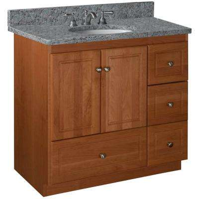 Ultraline 36 in. W x 21 in. D x 34.5 in. H Vanity with Right Drawers Cabinet Only in Medium Alder