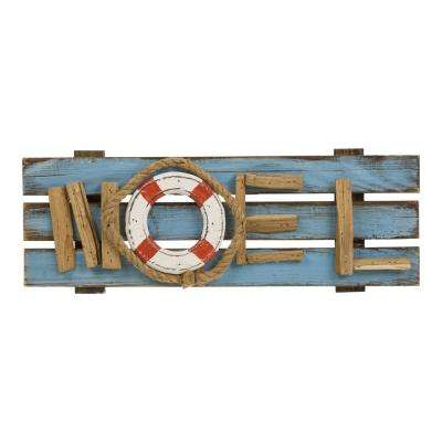 17.72 in. L Solid Wood Noel Wall Decor