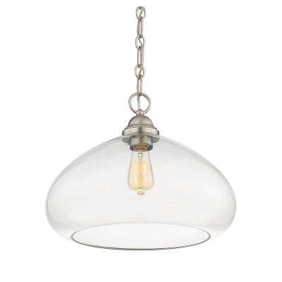 1-Light Satin Nickel Pendant