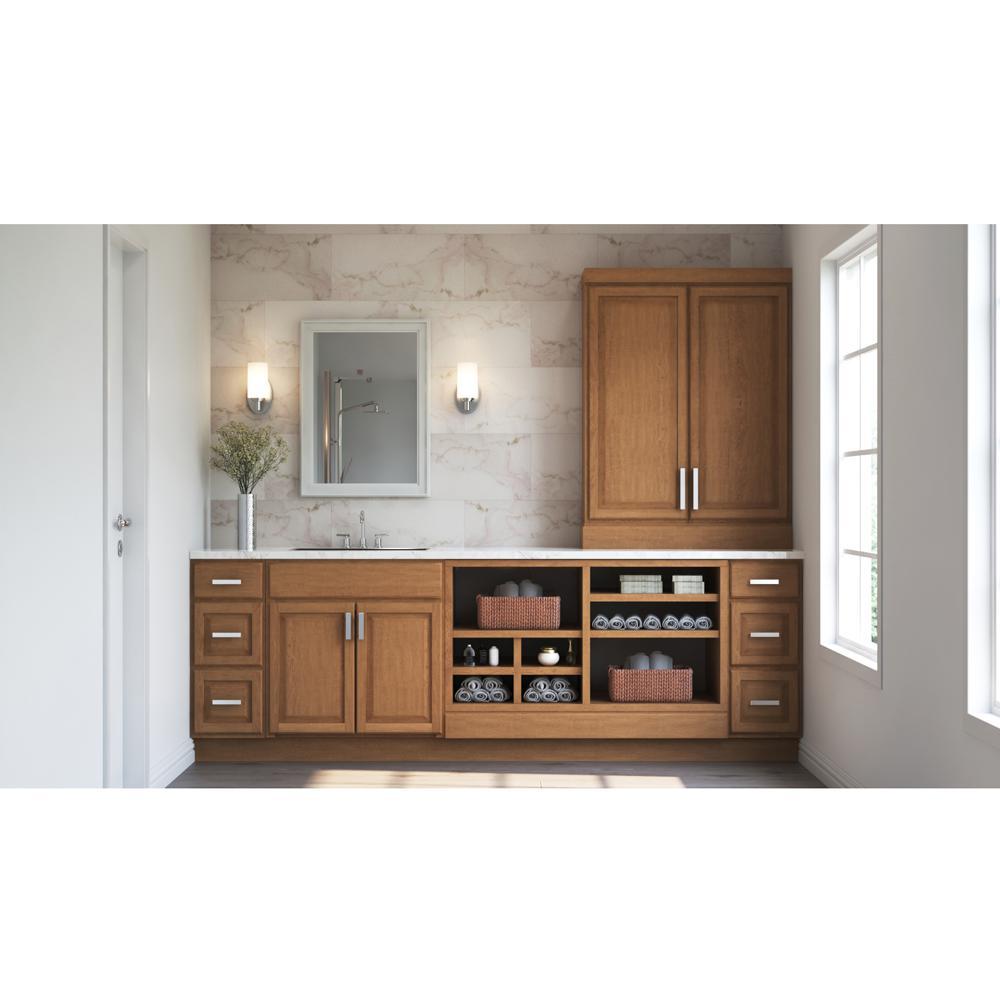 Hampton Bay Hampton Assembled 36x34 5x24 In Blind Base Corner Kitchen Cabinet In Medium Oak Kbbc45 Mo The Home Depot