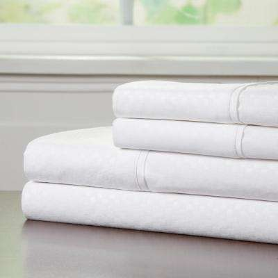 Embossed 4-Piece White 90 GSM Microfiber Queen Sheet Set