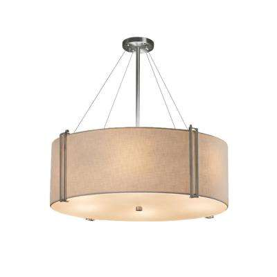 Textile Reveal 8-Light Brushed Nickel Pendant with Cream Shade