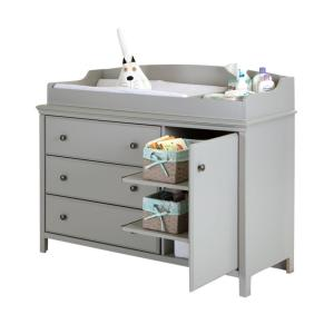 4 South S Cotton Candy 3 Drawer Soft Gray Changing Table