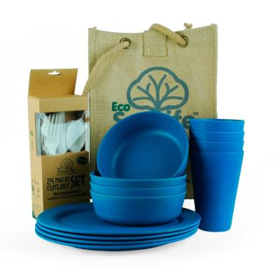Blue Bamboo Picnic (Set for 4)