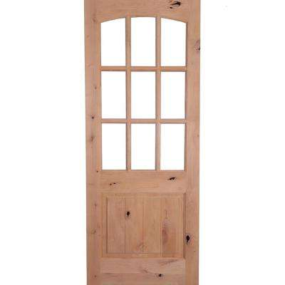 36 in. x 80 in. Rustic Knotty Alder Arch Top 9-Lite Clear Glass with V-Panel Unfinished Wood Front Door Slab