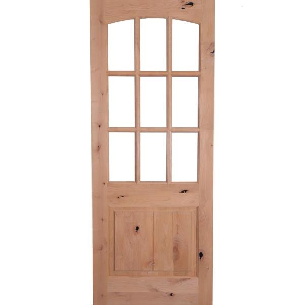 42 in. x 96 in. Rustic Knotty Alder Arch Top 9-Lite Clear Glass with V-Panel Unfinished Wood Front Door Slab