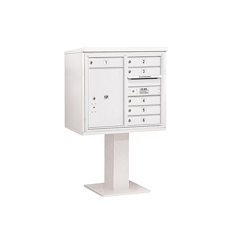 3400 Series 55-1/8 in. 7 Door High Unit White 4C Pedestal Mailbox with 6 MB1 Doors/1 PL6