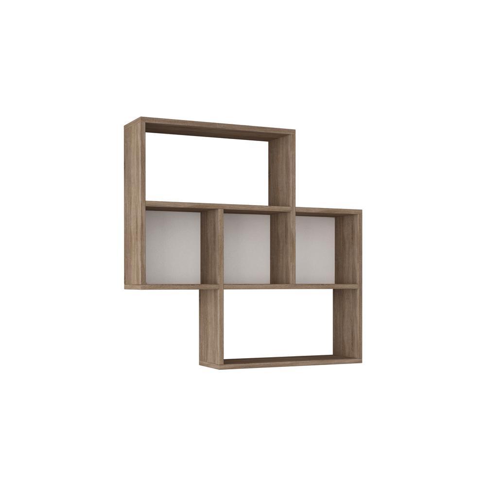 Ada Home Decor Wise White and Oak Modern Wall Shelf DCRW2444
