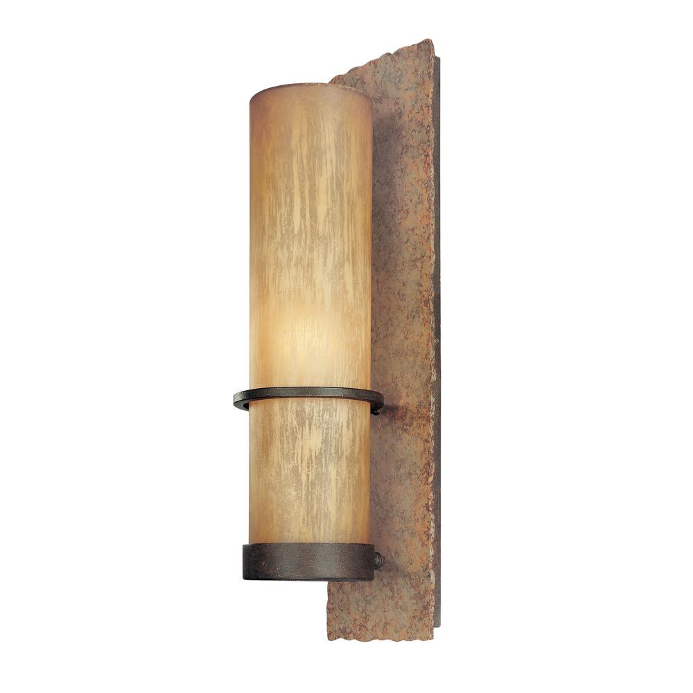 Bamboo Bronze With Natural Slate Outdoor Wall Mount Sconce