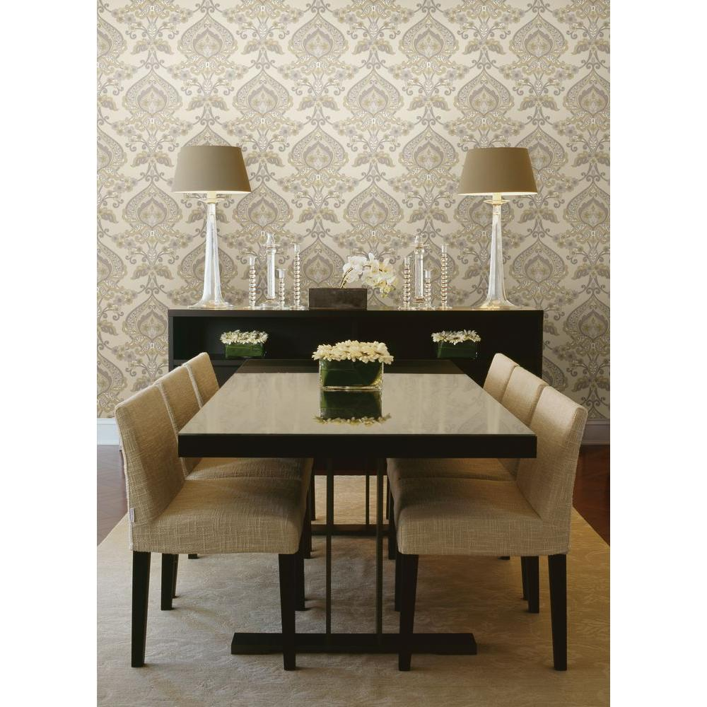 Beacon House Ashbury Taupe Paisley Damask Wallpaper
