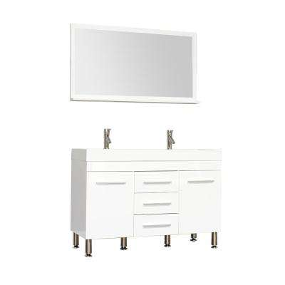 Ripley 47 in. W x 18.75 in. D x 33.37 in. H Vanity in White with Acrylic Vanity Top in White with White Basin