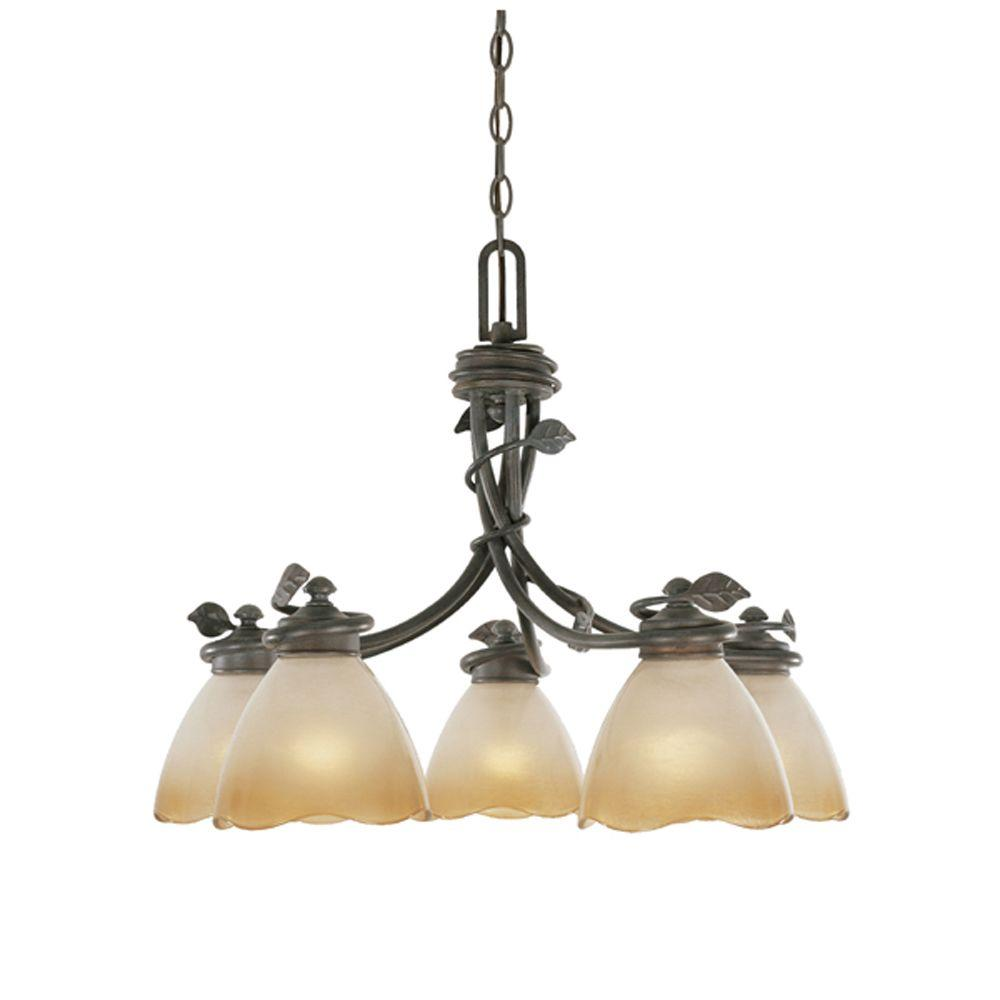 Designers fountain studio 5 light satin bronze interior chandelier belle rose collection 5 light old bronze downlight hanging chandelier aloadofball Choice Image