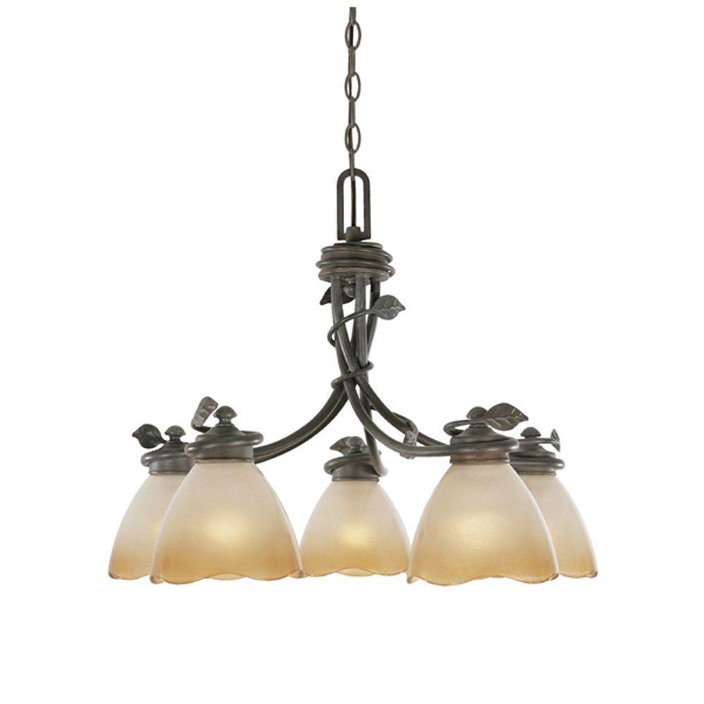 Timberline 5-Light Old Bronze Downlight Hanging Chandelier
