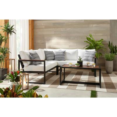 West Park Black Aluminum Outdoor Patio Sectional Sofa Seating Set with CushionGuard White Cushions