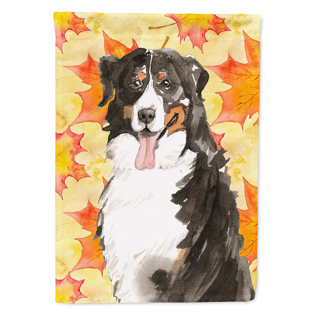 Carolineu0027s Treasures 11 In. X 15 1/2 In. Polyester Fall Leaves Bernese  Mountain Dog 2 Sided 2 Ply Garden Flag CK1852GF   The Home Depot