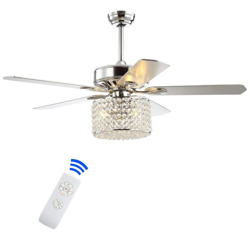 JONATHAN Y Brandy 52 in. Chrome 3-Light Crystal Prism Drum LED Ceiling Fan with Light and Remote