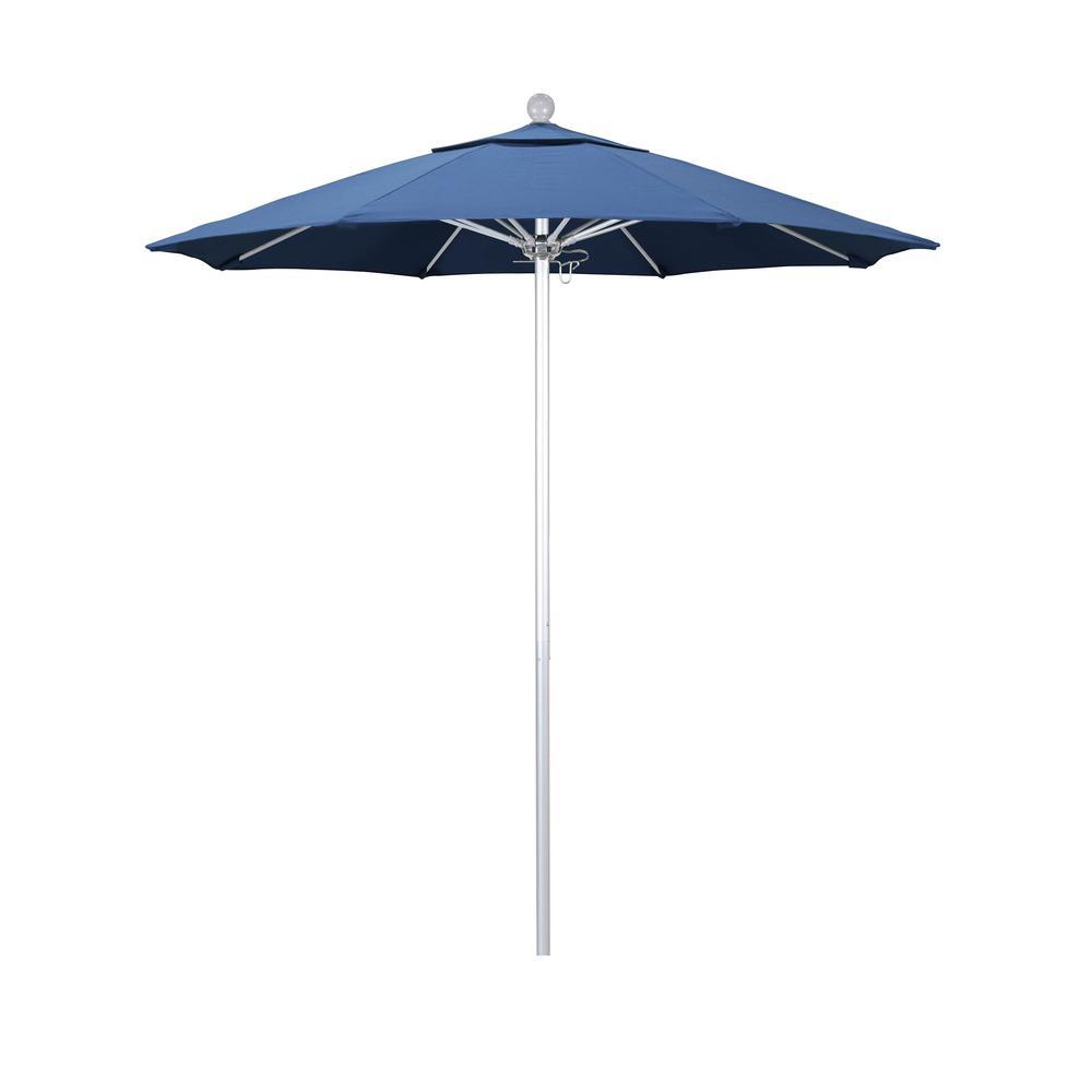 California Umbrella 7.5 ft. Market Silver Anodized Fiberglass Pulley Open Patio Umbrella in Capri Pacifica
