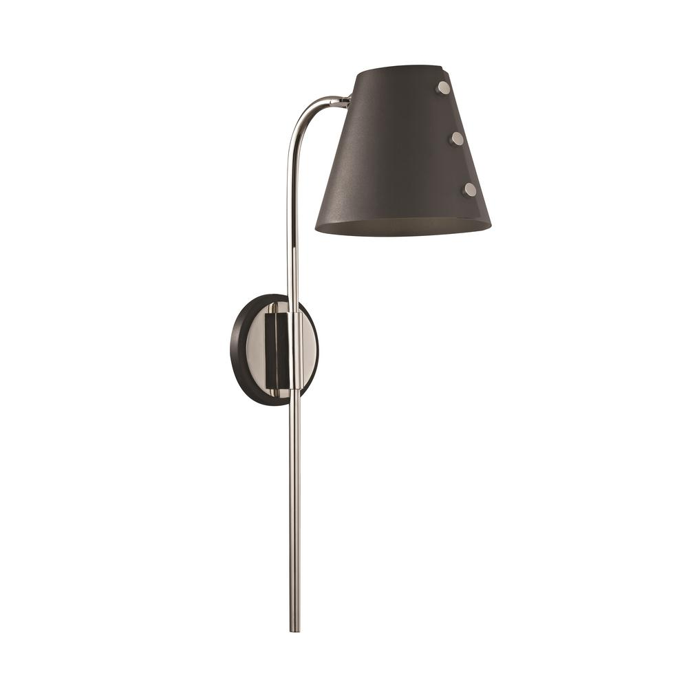 Mitzi By Hudson Valley Lighting Meta 1 Light Polished Nickel Led Wall Sconce With Plug And Black Accents