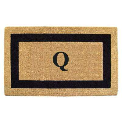 Single Picture Frame Black 22 in. x 36 in. HeavyDuty Coir Monogrammed Q Door Mat