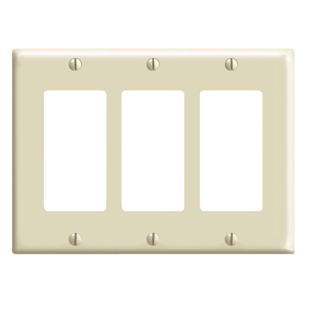 Decora 3-Gang Wall Plate - Ivory