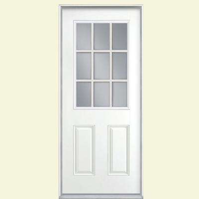 36 in. x 80 in. 9 Lite White Left Hand Inswing Painted Smooth Fiberglass Prehung Front Door with No Brickmold
