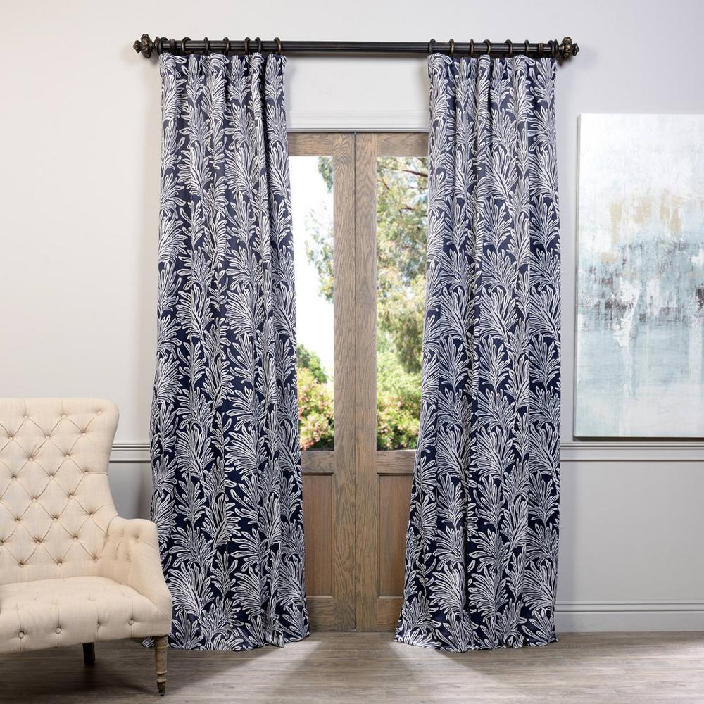 Exclusive Fabrics Furnishings Semi Opaque Flora Navy Blackout Curtain