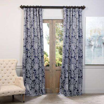 Semi-Opaque Flora Navy Blackout Curtain - 50 in. W x 120 in. L (Panel)