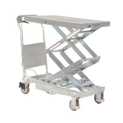 800 lb. 35.5 x 20 in. Partial Stainless Steel Elevating Cart
