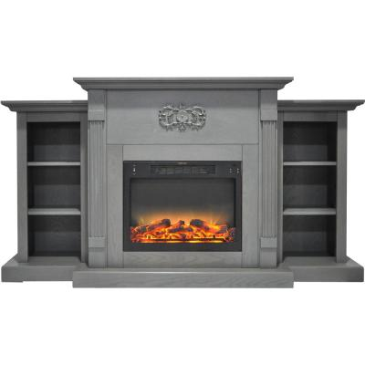 Classic 72 in. Electric Fireplace in Gray with Built-in Bookshelves and an Enhanced Log Display