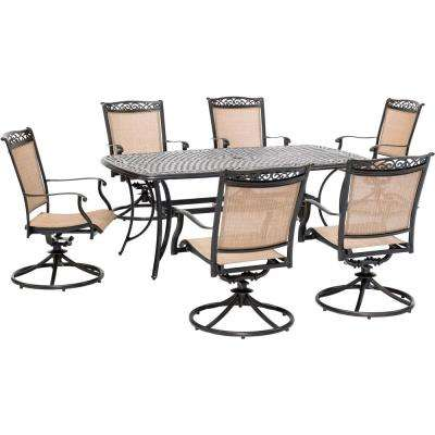 Fontana 7-Piece Aluminum Outdoor Dining Set with 6 Sling Swivel Rockers and a 38 in. x 72 in. Cast-Top Table