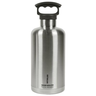 Premium Outdoor 64 oz. Black and Stainless Steel Insulated Beer Growler Bundle