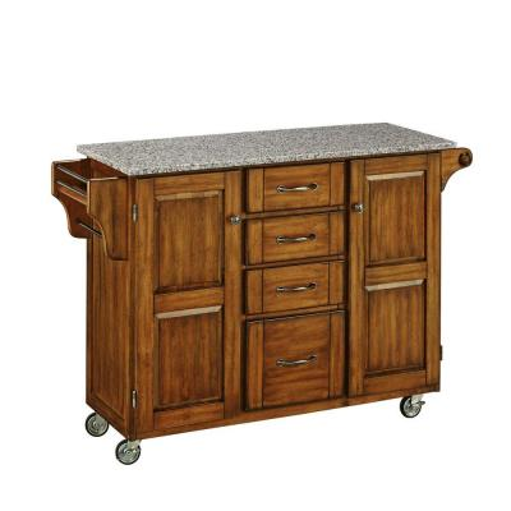 Warm Oak Kitchen Cart With Salt & Pepper Granite Top
