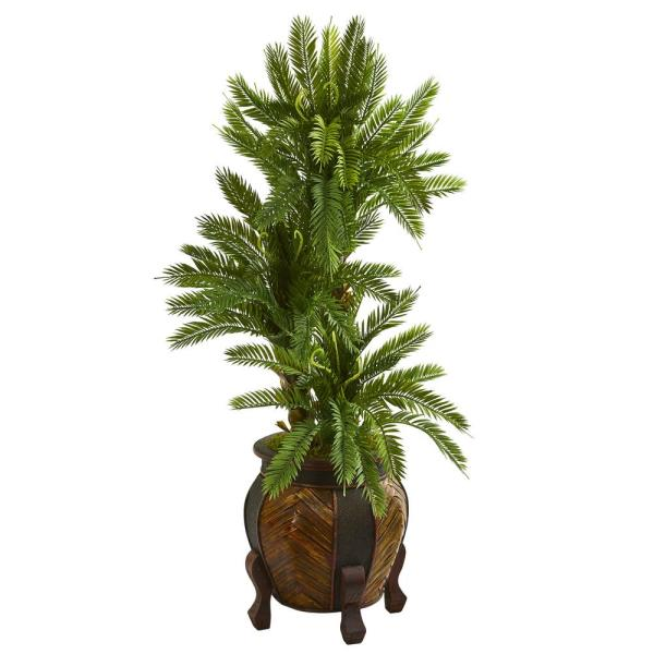Nearly Natural Indoor 4-Ft.Triple Cycas Artificial Plant in Decorative Planter