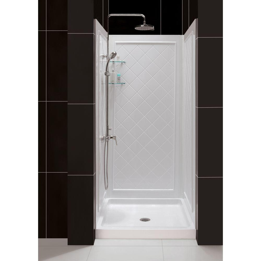 DreamLine QWALL-5 30 to 40 in. x 34 to 38 in. x 74 in. 3-Piece Easy to Adhesive Shower Back Wall Kit in White