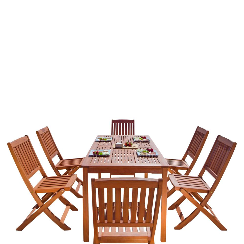 Vifah malibu 7 piece wood rectangle outdoor dining set for Outdoor dining sets for 4