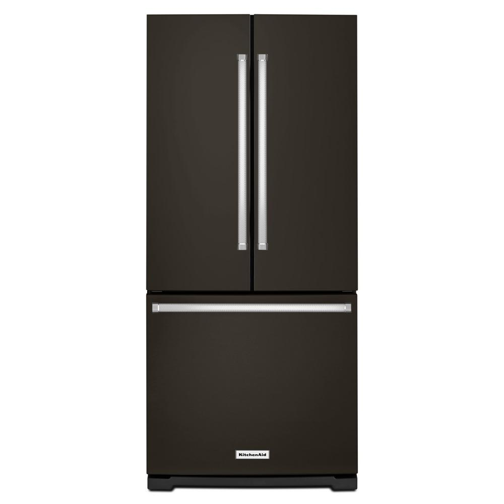 KitchenAid 20 cu. ft. French Door Refrigerator in PrintShield Black Stainless with Interior Water Dispenser