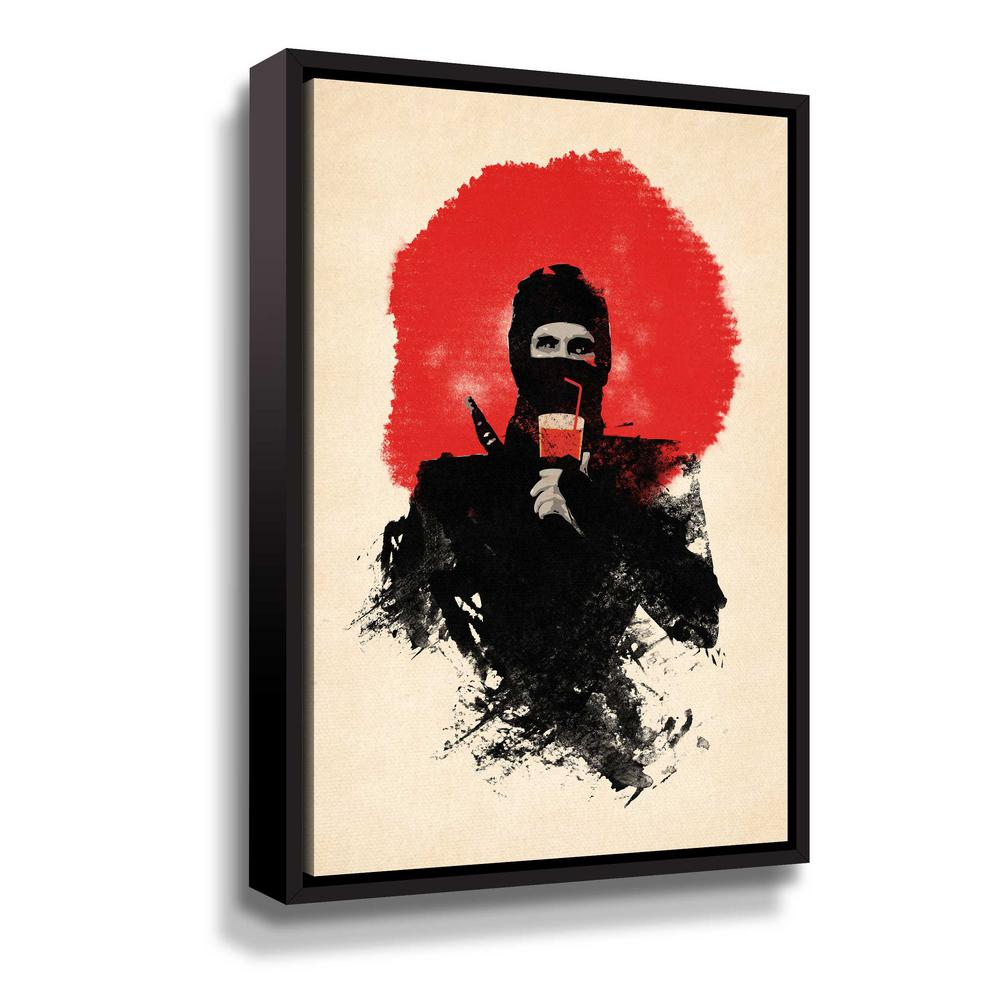 ArtWall 'American Ninja' by Robert Farkas Framed Canvas Wall Art, Black This beautiful gallery wrapped canvas art is the perfect piece of wall decor for that bare wall. Display this gorgeous wall art decor in the living area with some brushed nickel sconces. Hang this artwork in the dining area for a wonderful conversation piece. Color: Black.